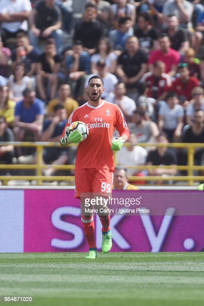 Gianluigi Donnarumma of AC Milan reacts during the serie A match between Bologna FC and AC Milan at Stadio Renato Dall'Ara on April 29 2018 in...