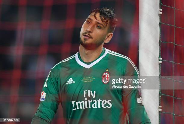 Gianluigi Donnarumma of AC Milan reacts during the TIM Cup Final between Juventus and AC Milan at Stadio Olimpico on May 9 2018 in Rome Italy