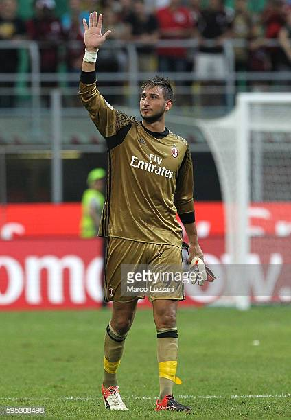 Gianluigi Donnarumma of AC Milan salutes the crowd at the end of the Serie A match between AC Milan and FC Torino at Stadio Giuseppe Meazza on August...