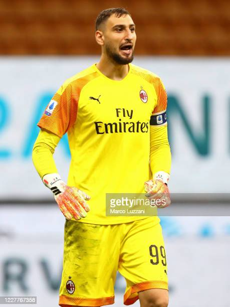 Gianluigi Donnarumma of AC Milan shouts during the Serie A match between AC Milan and Atalanta BC at Stadio Giuseppe Meazza on July 24 2020 in Milan...