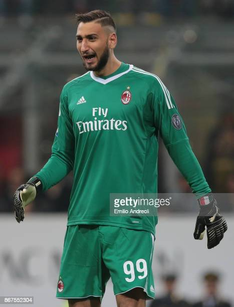 Gianluigi Donnarumma of AC Milan shouts during the Serie A match between AC Milan and Juventus at Stadio Giuseppe Meazza on October 28 2017 in Milan...