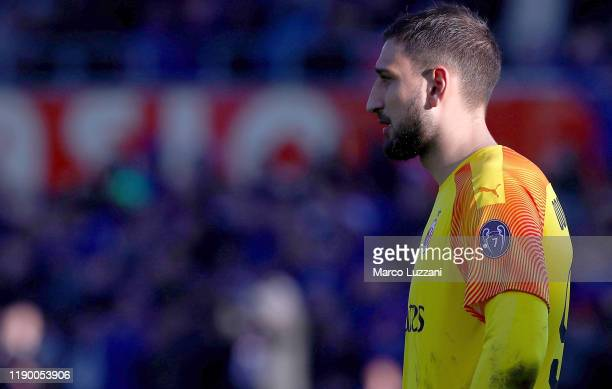 Gianluigi Donnarumma of AC Milan shows his dejection during the Serie A match between Atalanta BC and AC Milan at Gewiss Stadium on December 22 2019...