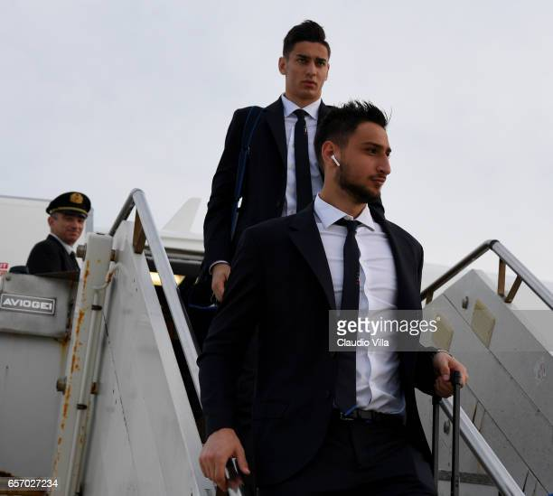 Gianluigi Donnarumma of Italy arrives to Palermo on March 23 2017 in Palermo Italy