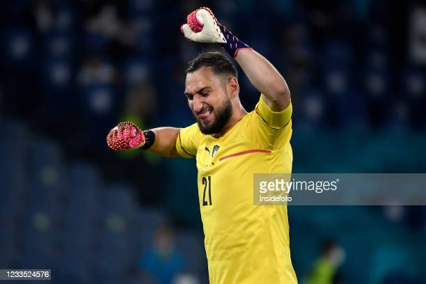 Gianluigi Donnarumma of Italy celebrates after a goal during the Uefa Euro 2020 Group A football match between Italy and Switzerland. Italy won 3-0...
