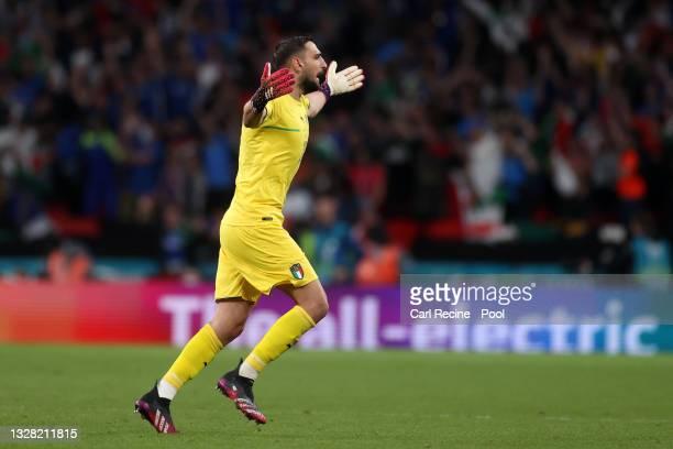 Gianluigi Donnarumma of Italy celebrates after their team's first goal, scored by Leonardo Bonucci of Italy during the UEFA Euro 2020 Championship...