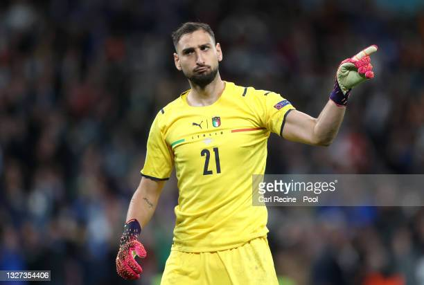 Gianluigi Donnarumma of Italy celebrates during the penalty shoot out during the UEFA Euro 2020 Championship Semi-final match between Italy and Spain...