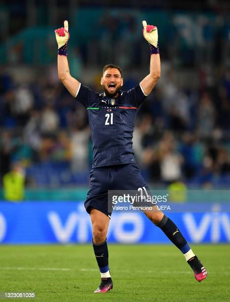 Gianluigi Donnarumma of Italy celebrates their side's second goal scored by team mate Ciro Immobile during the UEFA Euro 2020 Championship Group A...