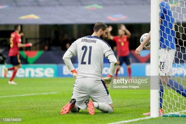 Gianluigi Donnarumma of Italy dejected after the 0-1 during the UEFA Nations league match between Italy v Spain at the San Siro on October 6, 2021 in...
