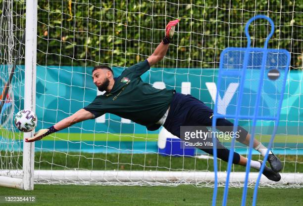 Gianluigi Donnarumma of Italy in action during a Italy training session at Centro Tecnico Federale di Coverciano on June 07, 2021 in Florence, Italy.