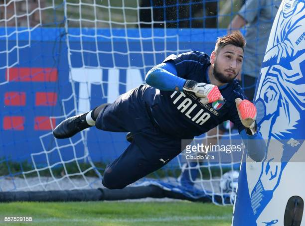 Gianluigi Donnarumma of Italy in action during a training session at Italy club's training ground at Coverciano on October 4 2017 in Florence Italy