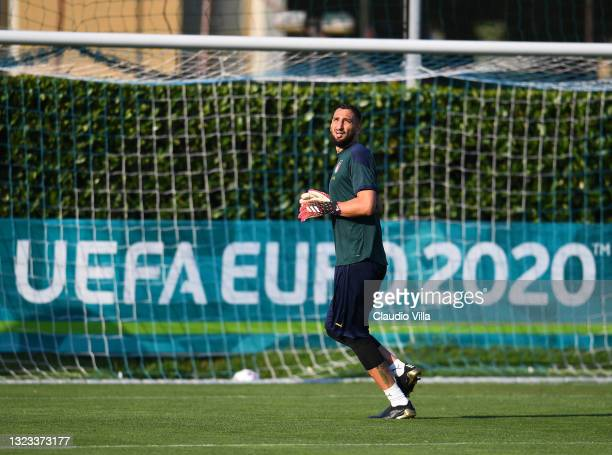 Gianluigi Donnarumma of Italy in action during an Italy training session at Centro Tecnico Federale di Coverciano on June 13, 2021 in Florence, Italy.