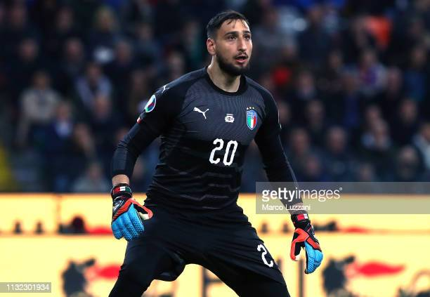Gianluigi Donnarumma of Italy in action during the 2020 UEFA European Championships group J qualifying match between Italy and Finland at Stadio...