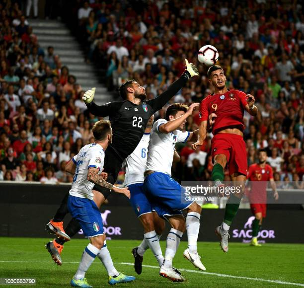 Gianluigi Donnarumma of Italy in action during the UEFA Nations League A group three match between Portugal and Italy at on September 10 2018 in...