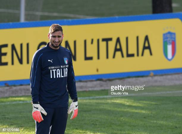 Gianluigi Donnarumma of Italy looks on during a training session at Italy club's training ground at Coverciano on November 7 2017 in Florence Italy