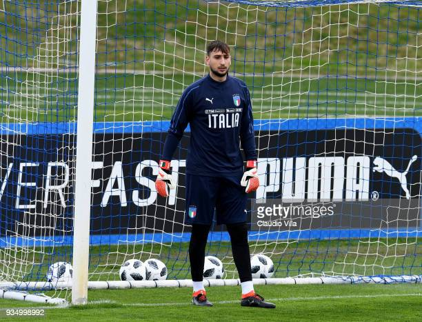 Gianluigi Donnarumma of Italy looks on during a training session at Centro Tecnico Federale di Coverciano on March 20 2018 in Florence Italy