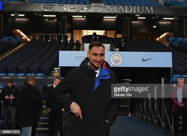 Gianluigi Donnarumma of Italy looks on during Italy walk around at Etihad Stadium on March 22 2018 in Manchester England