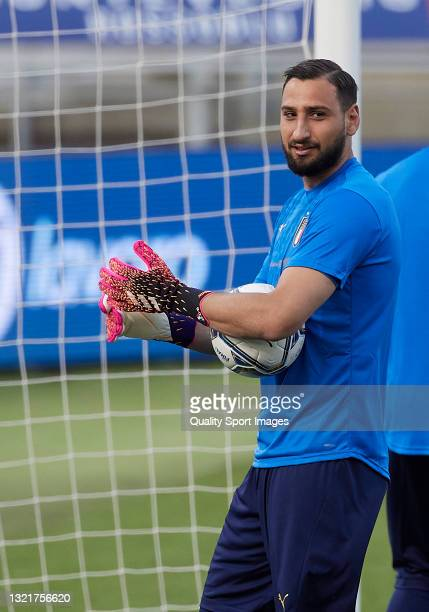 Gianluigi Donnarumma of Italy looks on prior to the international friendly match between Italy and Czech Republic at Renato Dall'Ara Stadium on June...