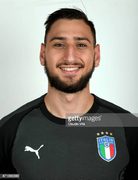 Gianluigi Donnarumma of Italy poses during the official portrait session at Coverciano on November 6 2017 in Florence Italy