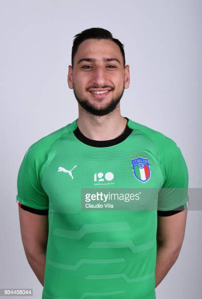 Gianluigi Donnarumma of Italy poses during the official portrait session at Centro Tecnico Federale of Coverciano on March 19 2018 in Florence Italy
