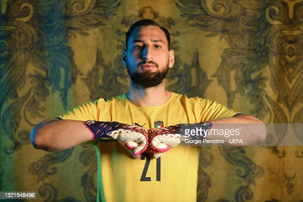 Gianluigi Donnarumma of Italy poses during the official UEFA Euro 2020 media access day at on June 02, 2021 in Florence, Italy.