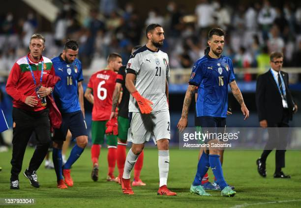 Gianluigi Donnarumma of Italy reacts during the 2022 FIFA World Cup Qualifier match between Italy and Bulgaria at Artemio Franchi on September 02,...