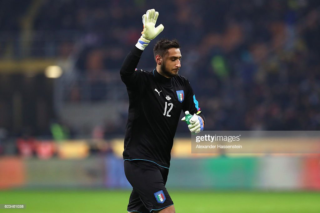 Gianluigi Donnarumma of Italy reacts during the International Friendly Match between Italy and Germany at Giuseppe Meazza Stadium on November 15, 2016 in Milan, iitaly.