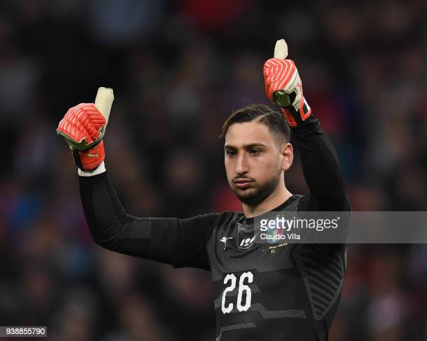 Gianluigi Donnarumma of Italy reacts during the International friendly football match between England and Italy at Wembley Stadium on March 27 2018...