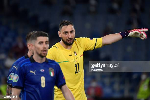 Gianluigi Donnarumma of Italy reacts during the Uefa Euro 2020 Group A football match between Italy and Switzerland. Italy won 3-0 over Switzerland.
