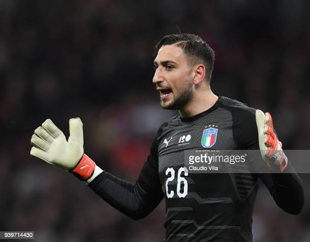 Gianluigi Donnarumma of Italy reatcs during the International Friendly match between England and Italy at Wembley Stadium on March 27 2018 in London...