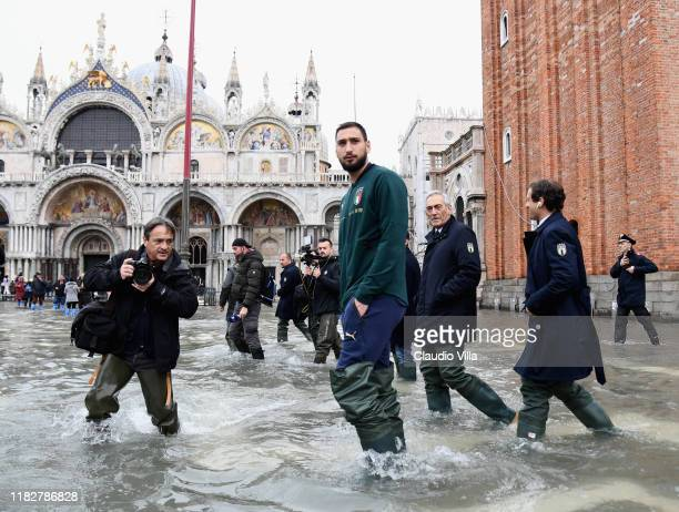 Gianluigi Donnarumma of Italy visit Venice during the high water on November 16 2019 in Venice Italy