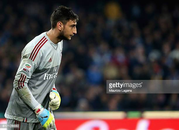 Gianluigi Donnarumma of Milan during the Serie A between SSC Napoli and AC Milan at Stadio San Paolo on February 22 2016 in Naples Italy
