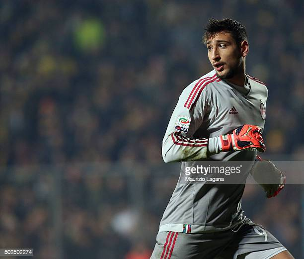 Gianluigi Donnarumma of Milan during the Serie A match between Frosinone Calcio and AC Milan at Stadio Matusa on December 20 2015 in Frosinone Italy