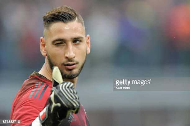 Gianluigi Donnarumma of Milan goalkeeper during the warm-up before the match valid for Italian Football Championships - Serie A 2017-2018 between AC...