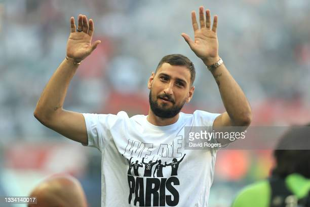 Gianluigi Donnarumma of Paris Saint Germain acknowledges the fans as he is introduced to the fans prior to the Ligue 1 Uber Eats match between Paris...