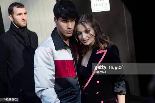 Gianmarco Rottaro and Marta Losito arrivals at Dolce e Gabbana fashion show during the Milan Fashion Week 2020 in Milan, Italy, on January 11 2020