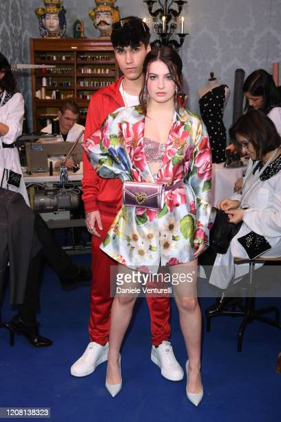 Gianmarco Rottaro and Marta Losito attend the runway at the Dolce & Gabbana fashion show on February 23, 2020 in Milan, Italy.