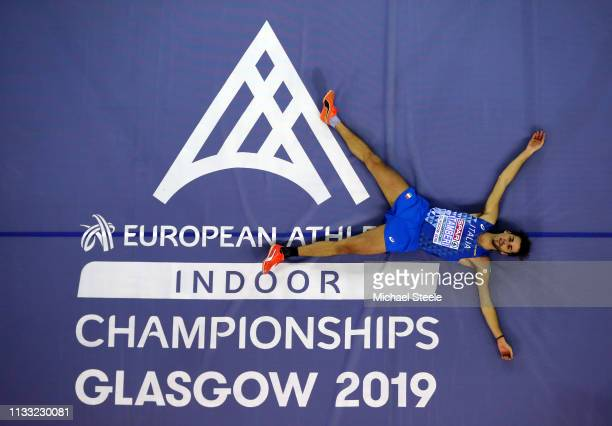 Gianmarco Tamberi of Italy celebrates after winning the Mens High Jump Final during the 2019 European Athletics Indoor Championships Day Two at the...