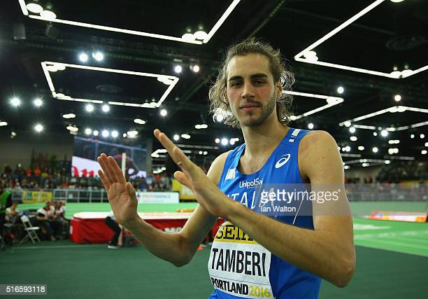 Gianmarco Tamberi of Italy celebrates in the Men's High Jump Final during day three of the IAAF World Indoor Championships at Oregon Convention...