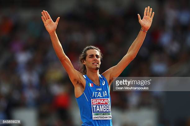 Gianmarco Tamberi of Italy celebrates winning gold in the final of the mens high jump on day five of The 23rd European Athletics Championships at...