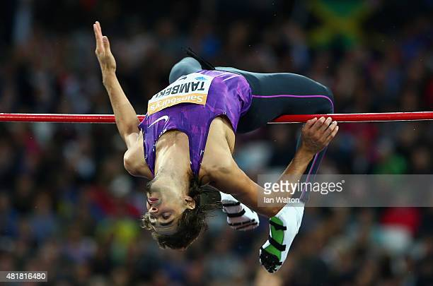 Gianmarco Tamberi of Italy competes in the Mens High Jump during day one of the Sainsbury's Anniversary Games at The Stadium Queen Elizabeth Olympic...