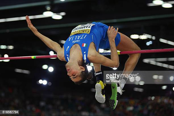 Gianmarco Tamberi of Italy competes in the Men's High Jump Final during day three of the IAAF World Indoor Championships at Oregon Convention Center...