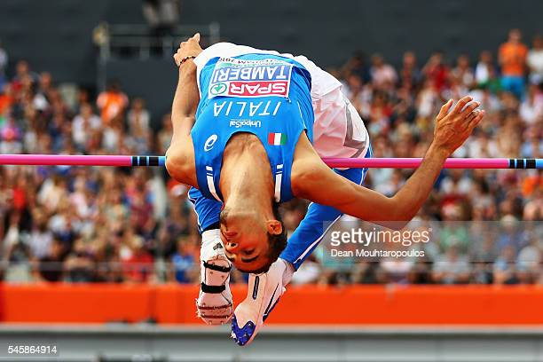 Gianmarco Tamberi of Italy in action during the final of the mens high jump on day five of The 23rd European Athletics Championships at Olympic...