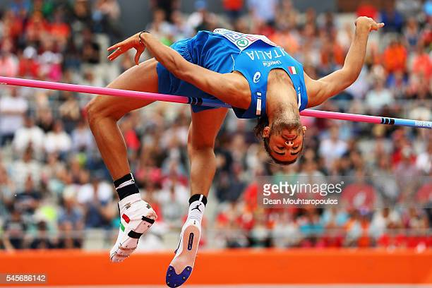 Gianmarco Tamberi of Italy in action during the qualifying round of the mens high jump on day four of The 23rd European Athletics Championships at...