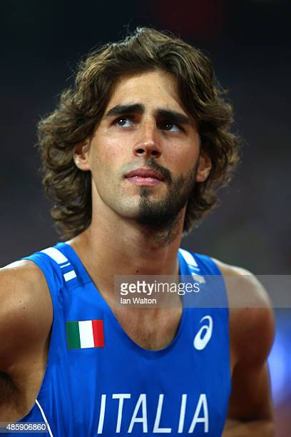 Gianmarco Tamberi of Italy looks on during the Men's High Jump Final during day nine of the 15th IAAF World Athletics Championships Beijing 2015 at...