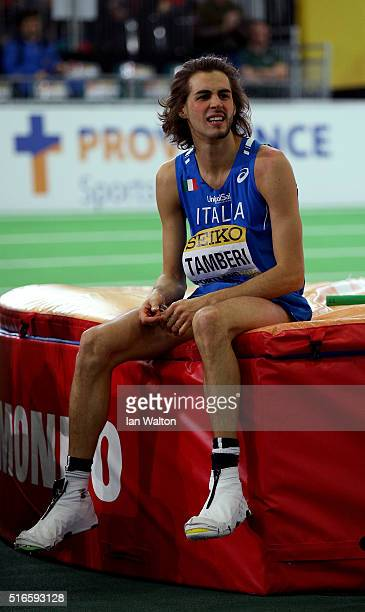 Gianmarco Tamberi of Italy looks on in the Men's High Jump Final during day three of the IAAF World Indoor Championships at Oregon Convention Center...