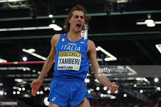 Gianmarco Tamberi of Italy reacts in the Men's High Jump Final during day three of the IAAF World Indoor Championships at Oregon Convention Center on...