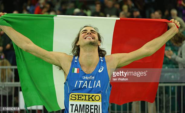 Gianmarco Tamberi of Italy wins gold in the Men's High Jump Final during day three of the IAAF World Indoor Championships at Oregon Convention Center...