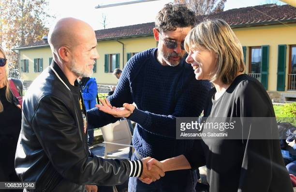 Gianmarco Tognazzi Alessandro Gassmann and Milena Bertolini head coach of Italy woman during FIGC 'USSI Meeting' In Coverciano at Centro Tecnico...