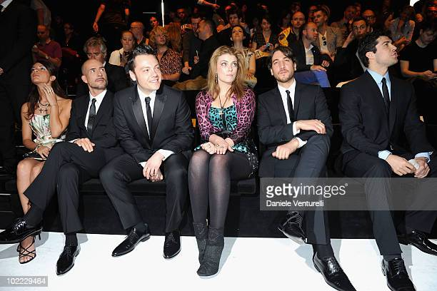 Gianmarco Tognazzi Tiziano Ferro Lola Lennox Alberto Ammann and Roberto Bolle attend the Dolce Gabbana Milan Menswear Spring/Summer 2011 show on June...