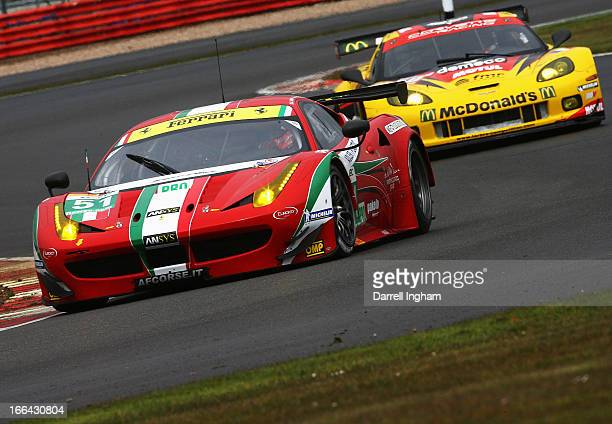 Gianmaria Bruni of Italy drives the AF Corse Ferrari F458 Italia during practice for the FIA World Endurance Championship 6 Hours of Silverstone...